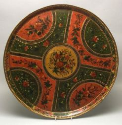 Large Round Painted Tole Tray
