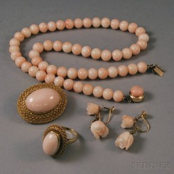 Assembled Suite of Pink Coral Jewelry