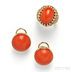14kt Gold and Coral Earrings and Ring