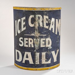 Painted Tin and Wood Ice Cream Parlor Trade Sign