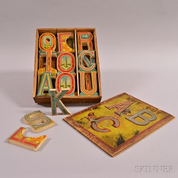Set of Whitney Reed Cut Out ABC Wood Blocks with Original Box