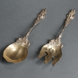 Two Reed & Barton Les Six Fleurs   Pattern Sterling Silver Salad Servers