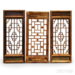 Three Japanese Carved and Pierced Softwood Windows