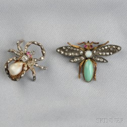 Two Gem-set Insect Brooches