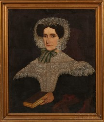 American School, 19th Century      Portrait of a Young Woman Wearing a Fancy Lacy White Bonnet and Collar.