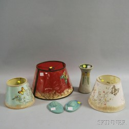Five Van Briggle Pottery Items and a Roseville Pottery Vase