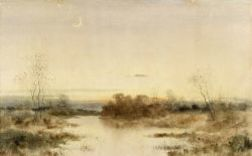 Samuel R. Chaffee (American, 19th/20th Century)  Lot of Two Works Including:  Crescent Moon and Sunrise Over the Marshes