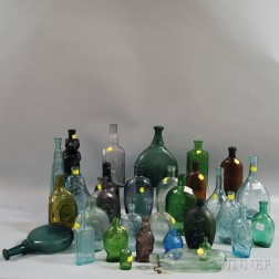 Thirty-two Assorted Bottles and Flasks