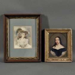 Two Small Framed 19th/20th Century European-School Portraits of Women in the Manner of Sir Joshua Reynolds Fashionable Woman in a Plume