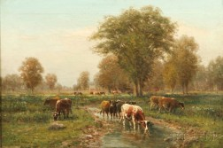 George Arthur Hays (American, 1854-1945)      Summer Pasture with Watering Cows.