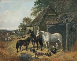 Attributed to John Frederick Herring, the Younger (British, c. 1820-1907)      Farmyard Scene with Horses