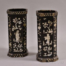 Pair of Octagonal Lacquered Wood Holders