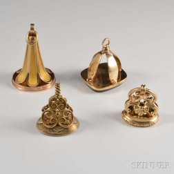 Four Gold Victorian Fobs
