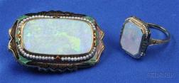 Art Deco 14kt Gold, Opal, and Enamel Brooch and Ring