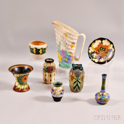 Two Pieces of Gouda Pottery, a Beswick Ware Pitcher, and Five Dutch Pottery Vessels
