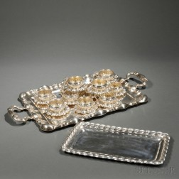 Twelve Hungarian .800 Silver Cups and Saucers with an Associated Tray