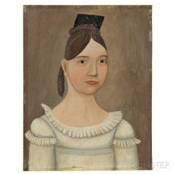 American School, Early 19th Century      Portrait of a Woman, possibly Abigail Baker, in a White Empire-waist Dress