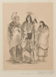 Two Uncolored Lithographs by George Catlin