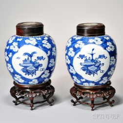 Pair of Blue and White Covered Ginger Jars with Stands
