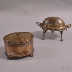 Silver-plated Footed Biscuit Box and Silver-plated Footed Domed Server