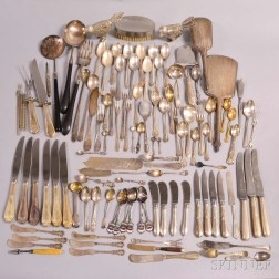 Large Group of Silver Flatware and Vanity Items