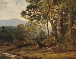 Worthington Whittredge (American, 1820-1910)      Wooded Landscape with View to the Mountains
