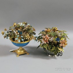 Two Decorative Gilt-metal and Enamel Models of Flower Arrangements