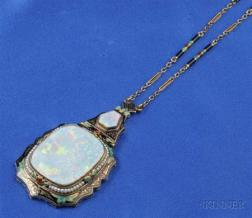 14kt Gold, Opal and Enamel Pendant Necklace