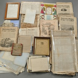 Group of Civil War Documents and Newspapers