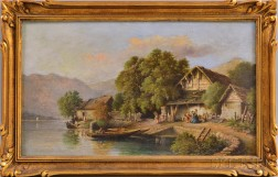 Henry Robert Robertson (British, 1839-1921)      Rustic Houses with Figures on a Riverbank