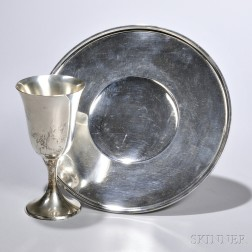 Sterling Silver Tray and Goblet, Gorham, Providence, 20th century, circular tray, dia. 10 1/8, and goblet with flared bell-form bowl, h