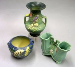 Roseville Pottery Freesia Vase and Pot and a Weller Pottery Double Vase.