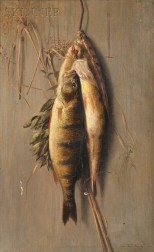 Charles Drew Cahoon (American, 1861-1951)      Still Life with Hanging Perch and Herbs