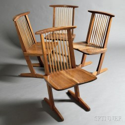 Four George Nakashima (1905-1990) Conoid Chairs