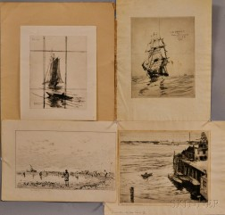 Four Prints of Ships and Ocean Scenes:    Including Charles Herbert Woodbury (American, 1864-1940), The Ebb Tide