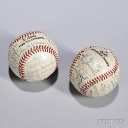 Two 1953 New York Team-signed Baseballs, one signed by members of the American League and World Series Champion New York Yankees includ