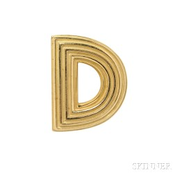 "18kt Gold ""Ridged Logic"" Brooch, Christopher Walling"