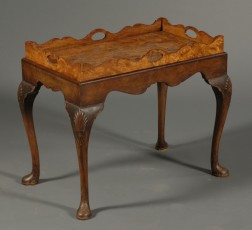 Queen Anne Style Burl Walnut Serving Tray on Stand