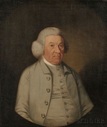American/Anglo School, 18th Century      Portrait of an Elderly Gentleman, Wearing a Powdered Wig and Gray Suit.