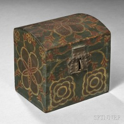 Small Paint-decorated Poplar Dome-top Box