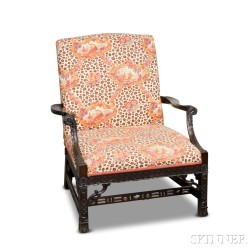 Chinese Chippendale-style Carved Mahogany Gainsborough Chair