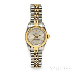 """Lady's Stainless Steel and Gold """"Oyster Perpetual"""" Wristwatch, Rolex"""
