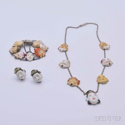 Japanese Silver Jewelry Suite