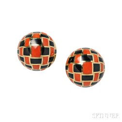 18kt Gold, Coral, and Black Jade Earrings, Tiffany & Co.