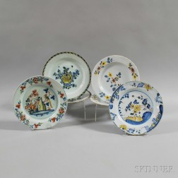 Six Polychrome Floral-decorated Plates
