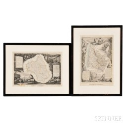After Victor Levasseur (French, 1800-1870)    Two Framed Maps: Department de L'Aveyron