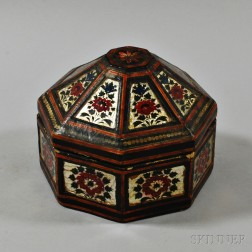 Octagonal Lacquered and Tinsel-decorated Covered Box