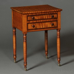 Classical Tiger Maple Two-drawer Stand