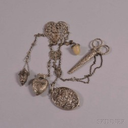 Assembled Victorian Silver Five-piece Chatelaine