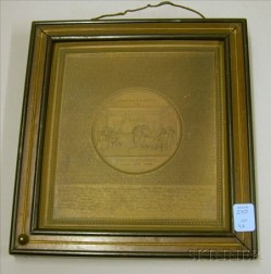 American Stamped Copper Plaque Depicting The Declaration of Independence